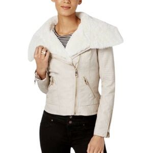 GUESS Faux Leather Shearling Collar Moto Jacket